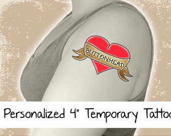 1 Custom Temporary Tattoo Personalized - 4 Inch Large