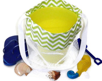 Mesh Sand Toy Bag, Kids Beach or Pool Tote Bag, Toy Storage, Cross Body or Shoulder Bag, Lime Green Chevron Bag, Gift For Boys or Girls