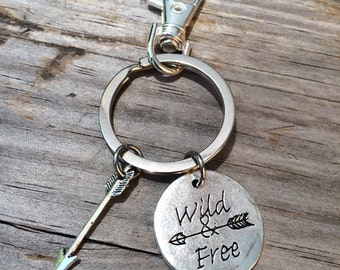 Wild and Free Keychain, Charm keychain, Arrow keychain, stocking stuffer, gifts for her