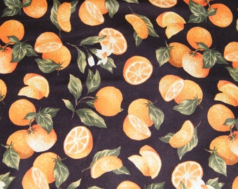 BTY ORANGES on Black Print 100% Cotton Quilt Craft Fabric by the Yard