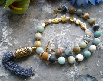 amazonite necklace,ethnic necklace, fish  necklace, gold fish, tribal pendant, pearl tassel pendant, freshwaterpearl necklace tribal pendant