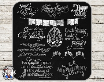 Easter Overlays / Clip Art / Digital Stamp / Word Art / Scrapbooking / Photography / Quotes / Ai  / 34 PNG - black / white / chalk