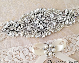 EXCLUSIVE Wedding Garter, Bridal Garter, Weding Garter Set, Lace Bridal Garter Set, Ivory Bridal Garter Belt