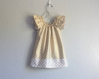 New! Gold and White Flutter Sleeve Dress - Girls Metallic Gold Dress - Girls Gold Christmas Dress - Size 12m, 18m 2T, 3T, 4T, 5, 6 or 8