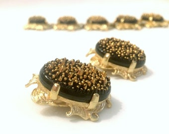 JUDY LEE Black Glass Gold Nugget - Bracelet and Clip Earrings - Demi Parure Vintage Collectible 1960s