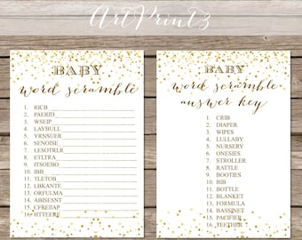 Baby Shower Word Scramble Game Printable, Gold Confetti Printable Baby Shower Game