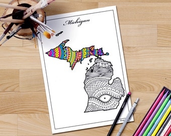 Adult coloring page Michigan map, USA maps coloring pages for adults, Zentangle coloring page, mindfulness coloring, patriotic printable art
