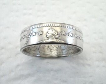 Sizes 6 - 10. Coin Ring. Swiss Helvetia Silver 2 Franc. Reversed. Place Your Custom Order Here.