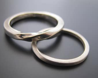 Silver Wedding Band Set, Men And Woman's Wedding Band Set, Couples Wedding Bands, Promise Rings For Couples, Sterling Silver Ring Set