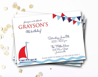 Nautical Birthday Invitation, Sailboat Birthday Invitation, Nautical Birthday, Preppy Birthday Invitaiton, First Birthday, DIY Printable
