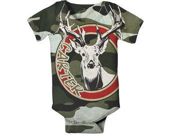 Camouflage Baby Boy Bodysuit, Personalized Deer Hunter Custom Onepiece, Baby Boy One Piece Shirt