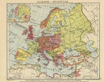 vintage europe map britain map uk map europe wall art europe decor