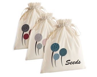 Seeds Bag, Drawstring Bag, 100% Organic Cotton, Pouch, Gardening, Bag for seeds, Gardening Gift, Seed Storage, DRAWSTRING BAG for SEEDS-S