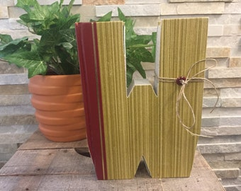 """Book Letter """"W"""", cut out book, vintage book, teacher gift, initial book, wedding, housewarming, book lover, Personalized gift, wedding gift"""