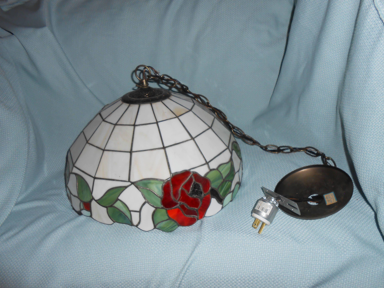Vintage Underwriters Laboratories Inc Hanging Lamp Red Flower
