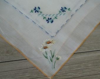 FREE SHIPPING 2 Vintage Handkerchiefs Embroidered Hankies Hanky Handkerchefs