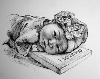 new mom gift New dad gift for new mom new mother gift New baby gift drawing Art gift for dad Gift for mother Gift for new mommy gift