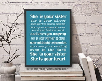 Gifts for Sister, Gift Ideas for Sister, Printable Art, Sister Quote Poster, Big Sister Gift Ideas, Christmas Gift Ideas, Art Print