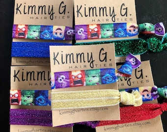 Set of inside out elastic hair ties/inside out party favors/kid party favors