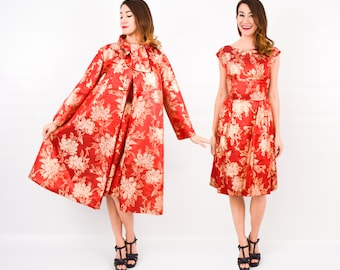 50s Red Dress & Swing Coat | Red Gold Brocade Evening Dress and Coat | Extra Small