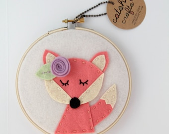 Fox Art. Nursery Wall Decor. Woodland Nursery. Gift for Her. Baby Girl Present. Felt Applique.  Embroidery Hoop. New Mom. Hand Embroidery.