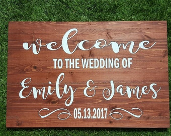 Welcome to the wedding sign Large. Welcome wedding sign. Custom wedding sign. Wedding welcome sign. Personalized sign. Rustic wedding sign.