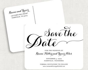 Calligraphy Save the Date Postcards, Black and White Save the Date Postcards, Printable Save the Date Postcards, Printed Save the Dates, PDF