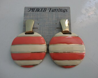 VINTAGE salmon ivory gold striped DANGLE post EARRINGS