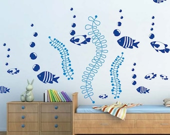 Under The Sea Wall Decals, Fish Wall Stickers, Removable Fish Sea Stickers for Kids Bedrooms, Nursery Fish Decals, Sea Stickers, g26, d52