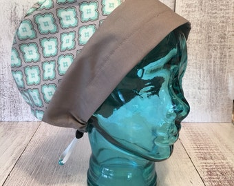 Women's surgical Cap, Scrub caps , Surgical hat, Chemo cap ,Mint green and Grey scrub cap