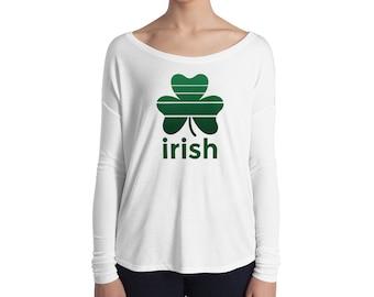 St. Patricks Day Shirt Women Long Sleeve Party Irish Clover Top