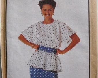 Simplicity 9490 - Misses/Misses Petite Peplum Top, Cummerbund and Slim Skirt - Sizes 6 -8-10-12, Bust 30 1/2 - 34, Uncut