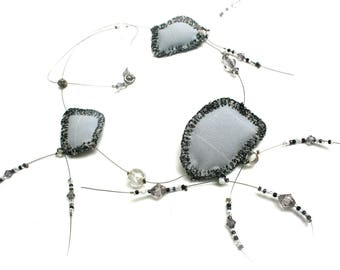 Bohemian textile creation grey pads embroidered on wire cable necklace beads