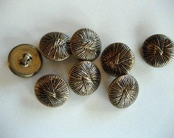 Set of 8 Vintage Goldtone Metal Buttons, Shank Back Buttons