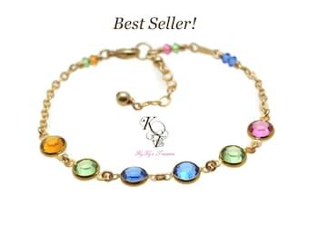 Mothers Birthstone Bracelet - Grandma Bracelet - FREE Gift Box - Birthstone Gifts for Mom - Gold Birthstone Bracelet - Grandmother Bracelet