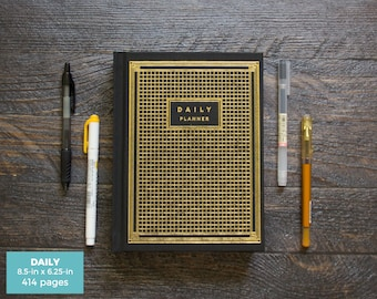 40% OFF Hardcover Daily Planner / Black & Gold / 1.5 Inches Thick / 414 Pages / Blank Dates / LIMITED EDITION