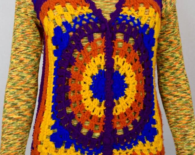 Vintage 1970's Women's Zado Rainbow Striped HiPPiE BoHo Crocheted Woodstock Mandala Sweater Vest Size M L