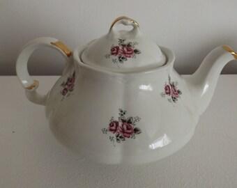 Vintage Porcelain Teapot, Vintage Ellgreave England Bone China Teapot Vintage painted roses