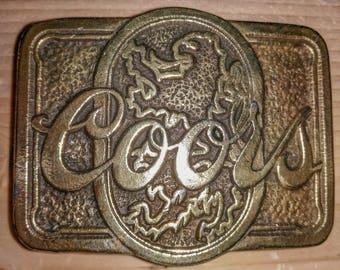 Vintage coors brass belt buckle