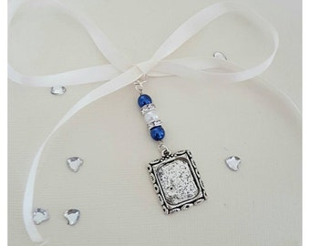Bridal Wedding Bouquet Photo Charm Silver Memory Oblong Locket Pendant  with blue and ivory pearl beads & Gift Bag