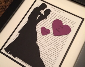 Blended Family, Bride and Groom Silhouette, Wedding Vows, Song Lyrics, Engagement, Bridal Shower Gift, Wedding Gift, Bride and Groom Outline