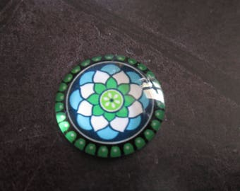 2 rosette and flower pattern 20 mm round glass cabochons
