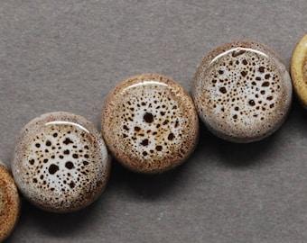 Porcelain Beads 9mm Beads 9mm Porcelain Beads Glazed Porcelain Beads Flat Beads Round Beads Brown Beads Green Porcelain Beads