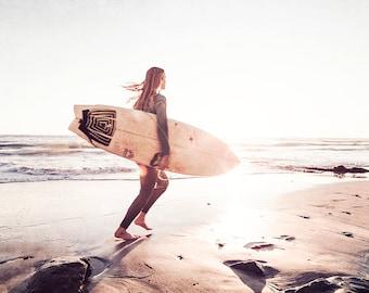 Surfing Photography, Surfer Girl Print, San Diego Photography, Surfboard Photo, Surfing Wall Art, Cream Wall Decor, Neutral Surf Art