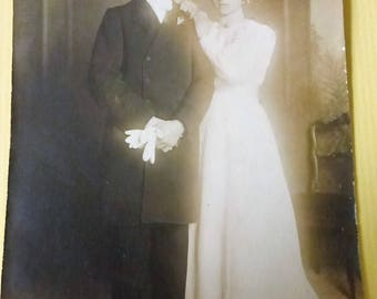 Antique Photo Postcard Bride and Groom from France 1920s