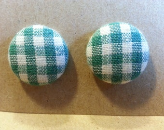 Fabric stud/post earrings - Gingham/Checkered - Multiple Colors Available - Size 30 Button (19mm)