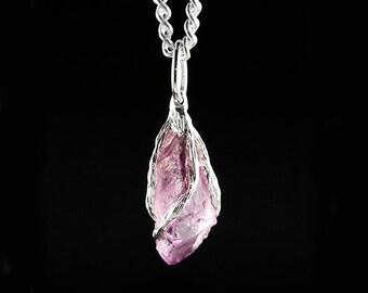 Amethyst Pendant, Raw Amethyst, Sterling Silver Amethyst Pendant, Crystal Pendant, Amythest Stone, Natural Amythest