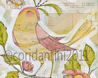 whimsical watercolor painting of a yellow bird - 8 x 10 - limited edition archival print by cori dantini - child decor
