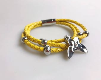 Beautiful Genuine Yellow Leather Bracelet with Stainless Steel Charms and Magnetic Clasp