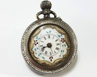 Antique, Coin Silver, .800, Pocket Watch, Silver, Hand Painted, Dial, Engraved, Steampunk, Jewelry, Beading, Supply